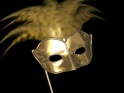ROMANTIC MASK – IV – GOLD AND FEATHERS – FLYING LEFT AND RIGHT – $25